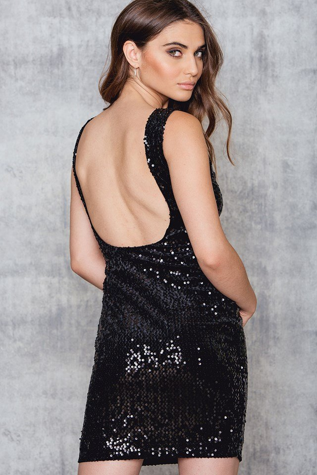 Sequins Deep Back Dress Black