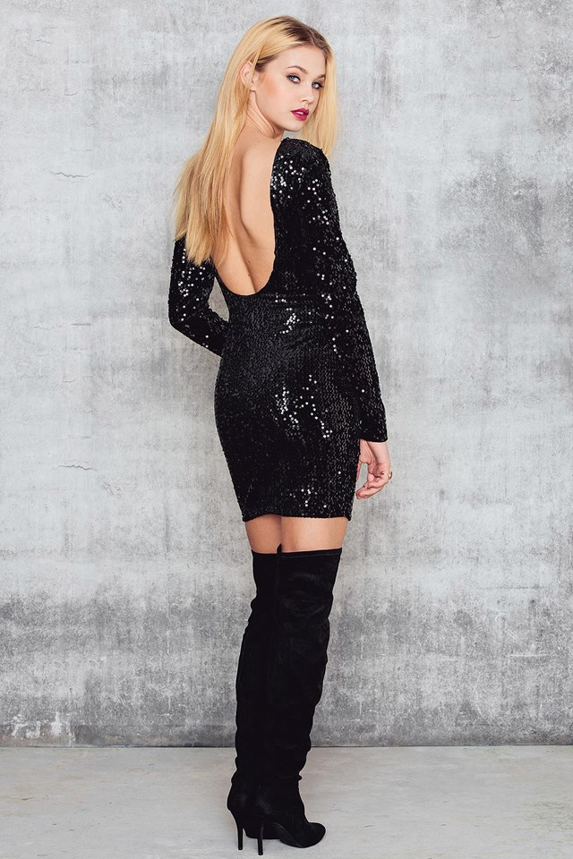 Velvet Sequins Deep Back LS Dress Black