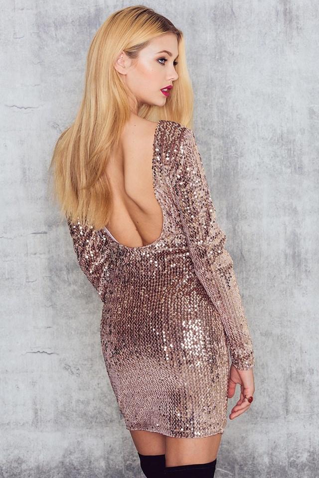 Velvet Sequins Deep Back LS Dress Gold