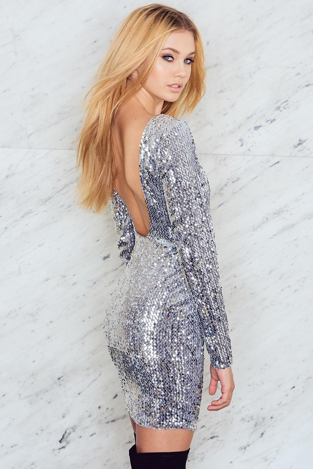 Velvet Sequins Deep Back LS Dress Silver