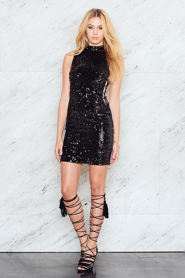 Detailed Polo Sequins Dress Black