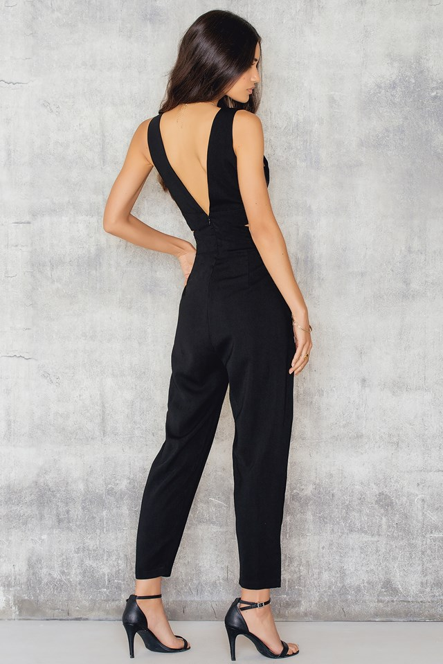 Halterneck Open Side Jumpsuit Black