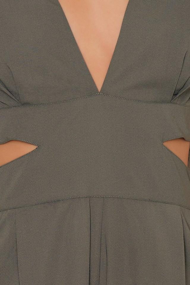 Halterneck Open Side Jumpsuit Olive