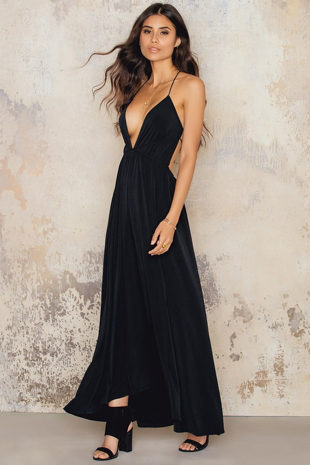 Cross Strap Slit Dress Black