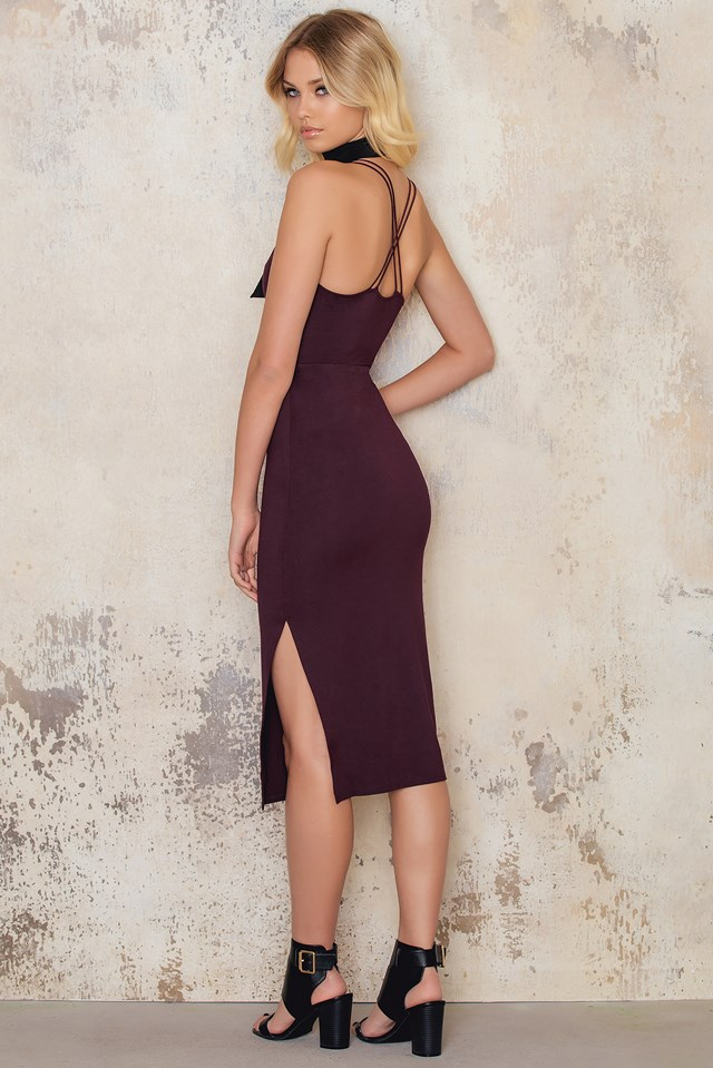 Double Strap Dress Wine Red