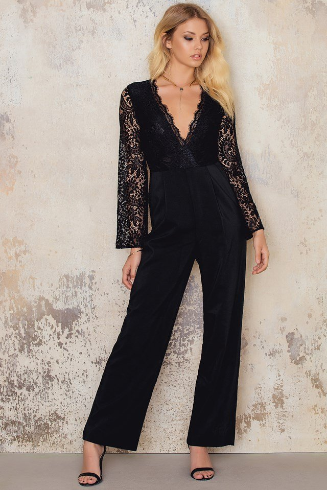 Wide Arm Lace Jumpsuit Black