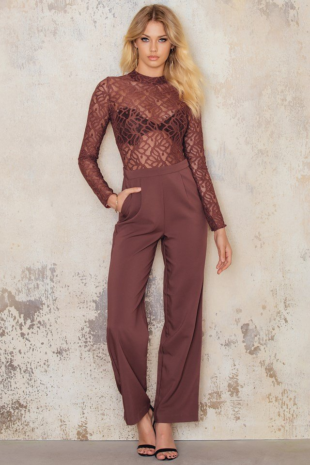 High Neck Lace Jumpsuit Fired Earth