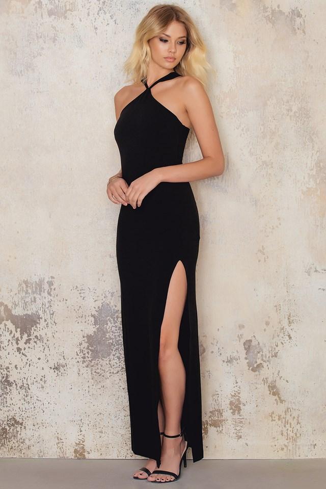 Cross Front Neck Long Slit Dress Black