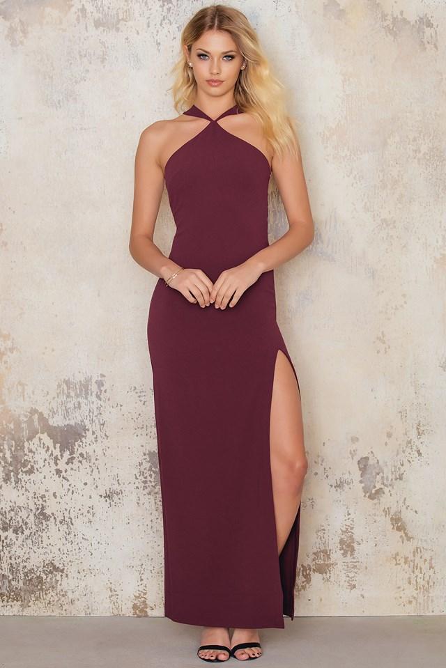Cross Front Neck Long Slit Dress Wine Red