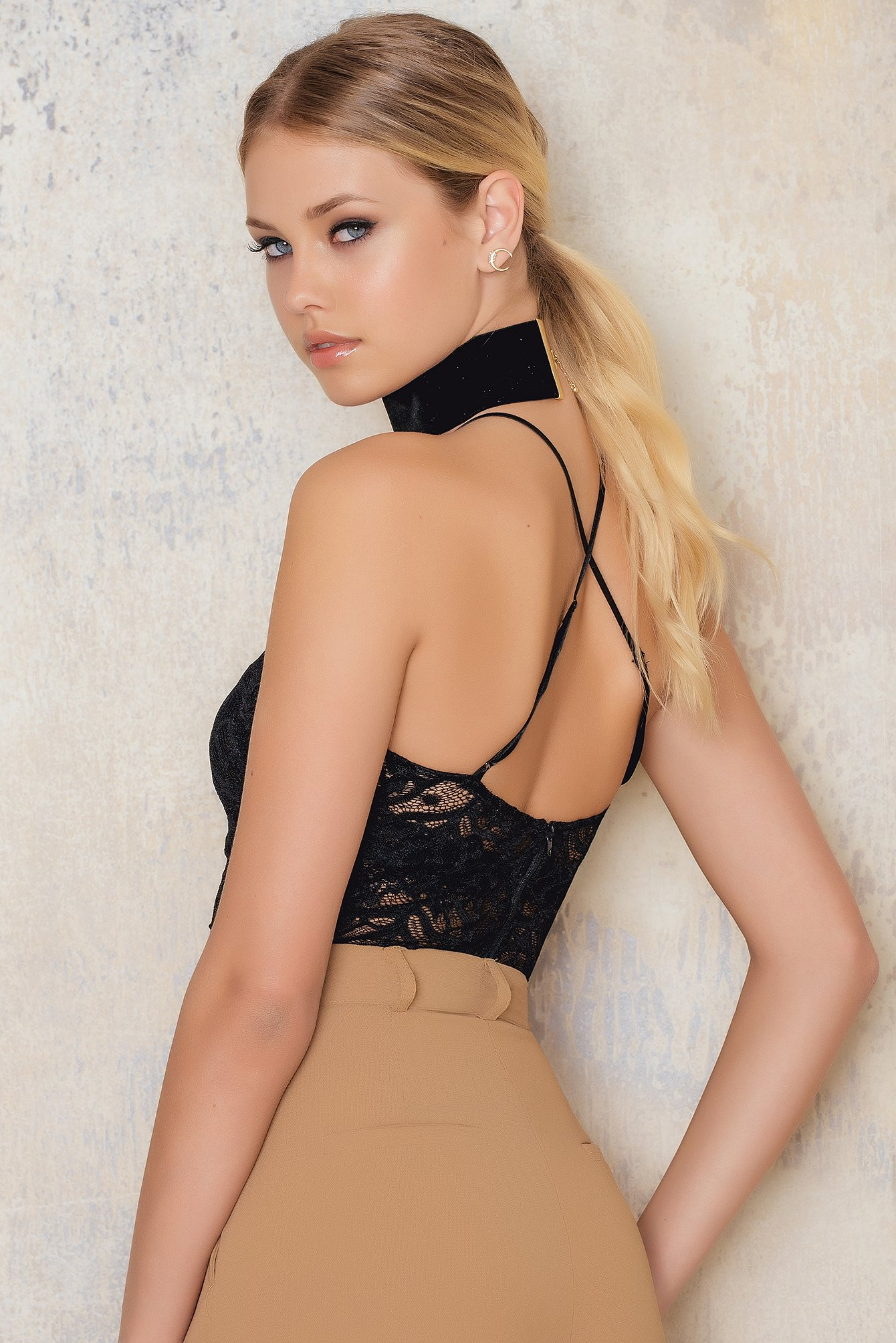 Black Lace Cross Back Strap Top