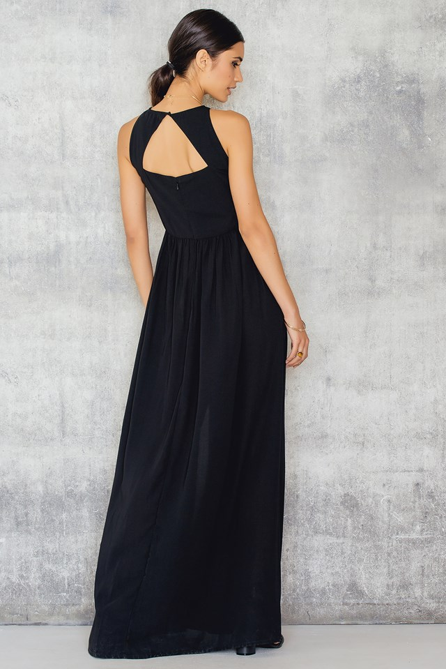 High Neck Slit Maxi Dress Black