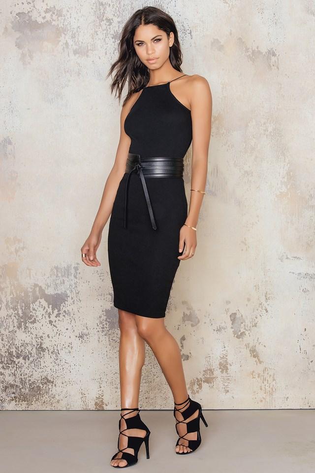 Rib High Neck Low Back Midi Dress Black