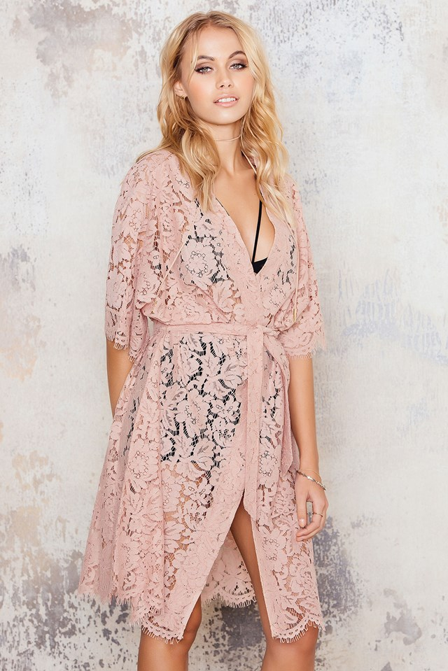 Lace Kimono Dress Dusty Pink
