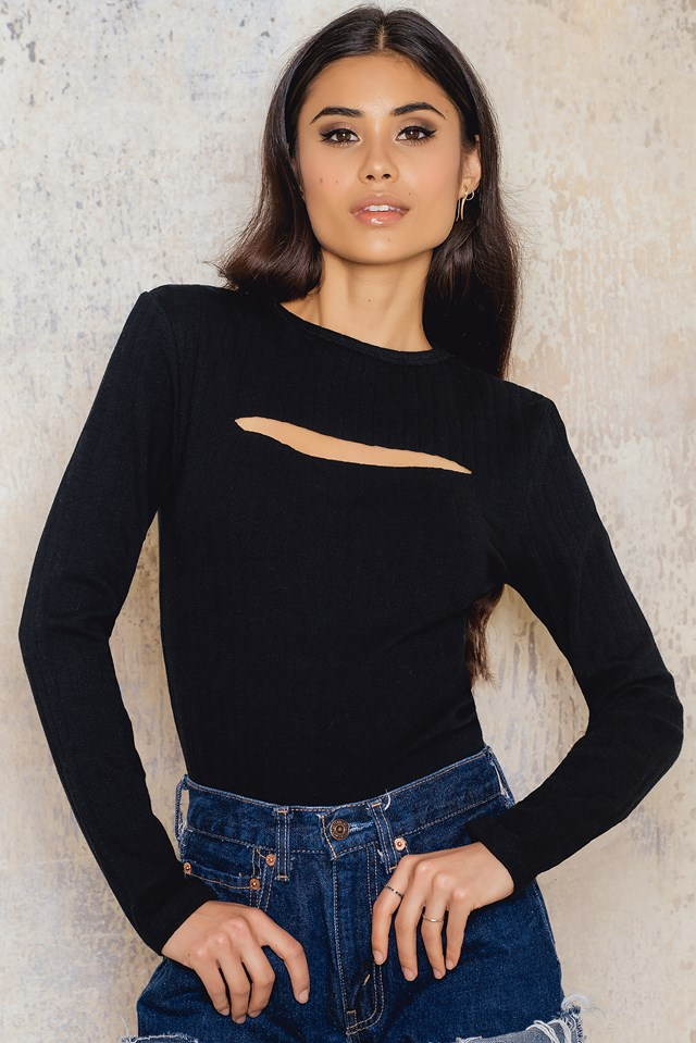 Cut Out Front Rib Jersey Top NA-KD.COM