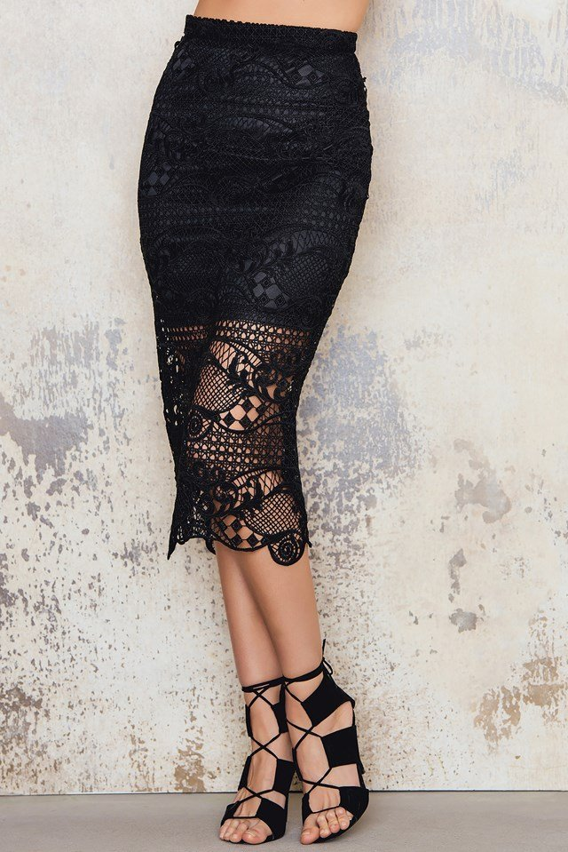 Crochet Slit Midi Skirt Black