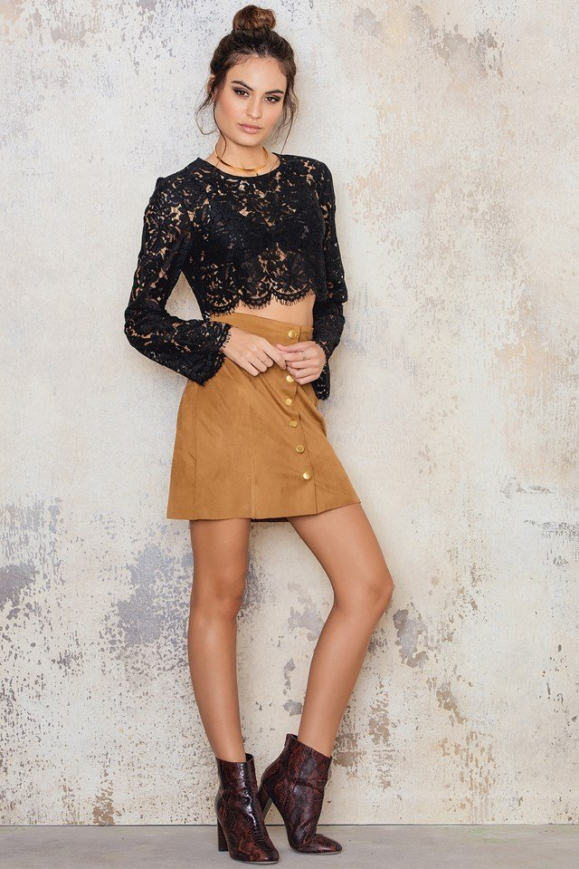 Lace Cropped Ls Top NA-KD.COM