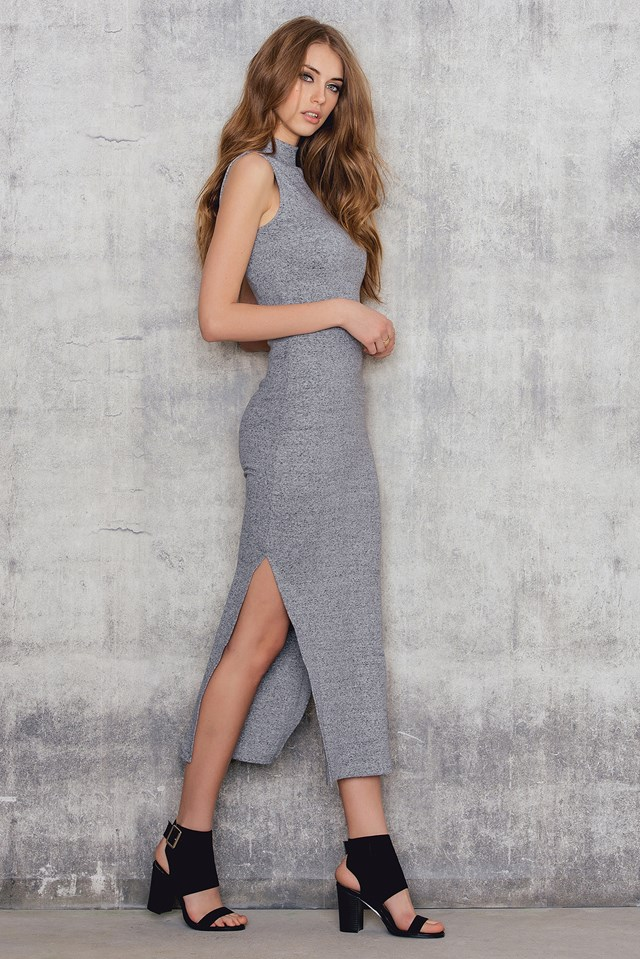 Rib High Neck Midi Dress Light Grey Melange