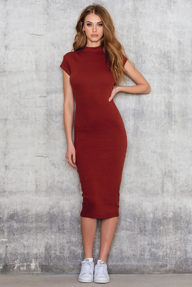 Rib Midi Short Sleeve Dress Dark Red