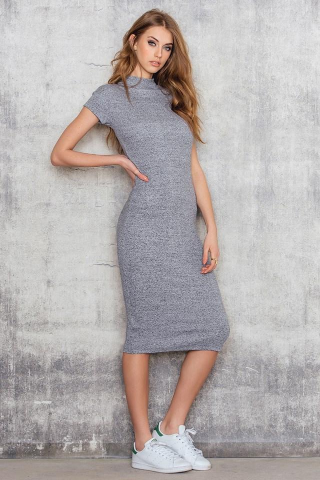 Rib Midi Short Sleeve Dress NA-KD.COM