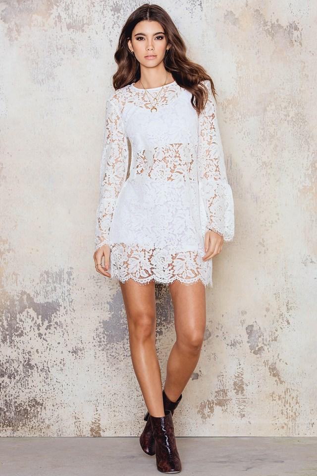 Trumpet Sleeve Lace Dress White