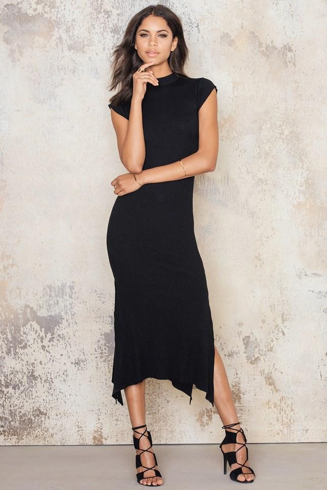 Assymetric Hem Rib Dress Black