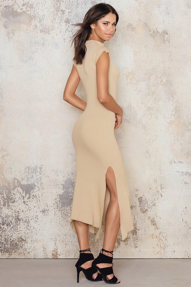 Assymetric Hem Rib Dress Beige