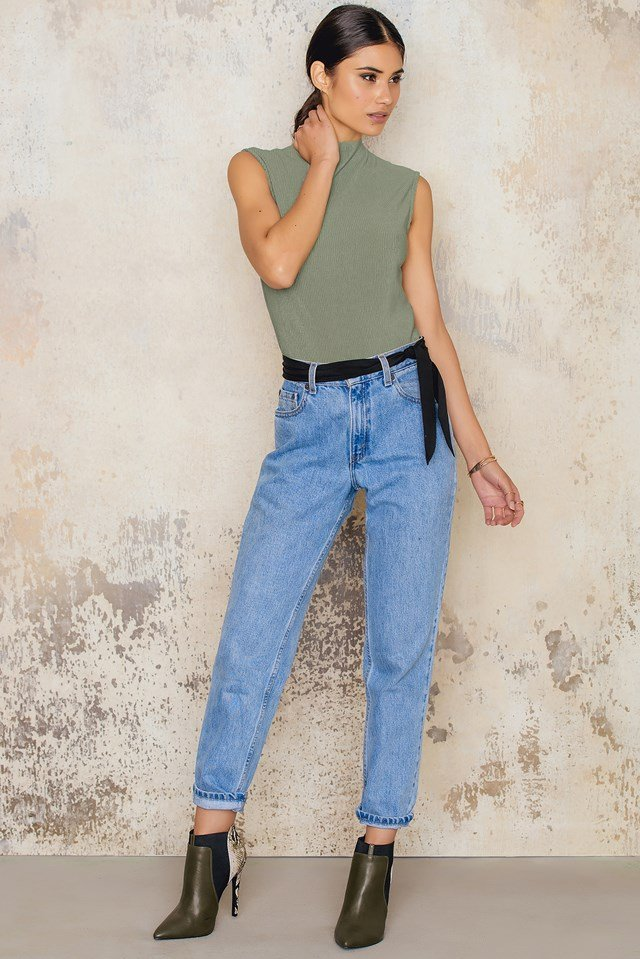 Highneck Pleated Top Dusty Green