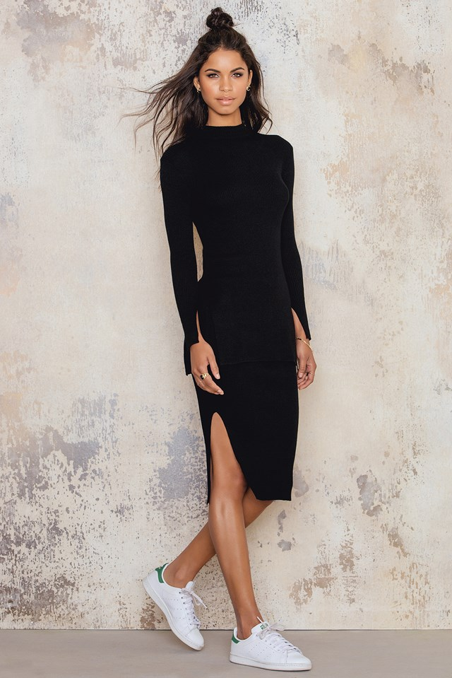 Split Hem Skirt Black