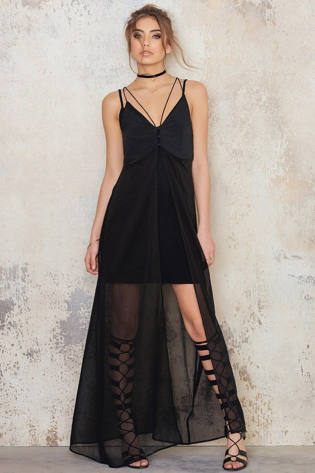 Deep V Chiffon Dress Black