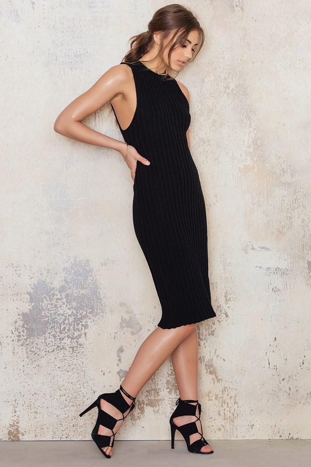 Knitted Midi Dress Black