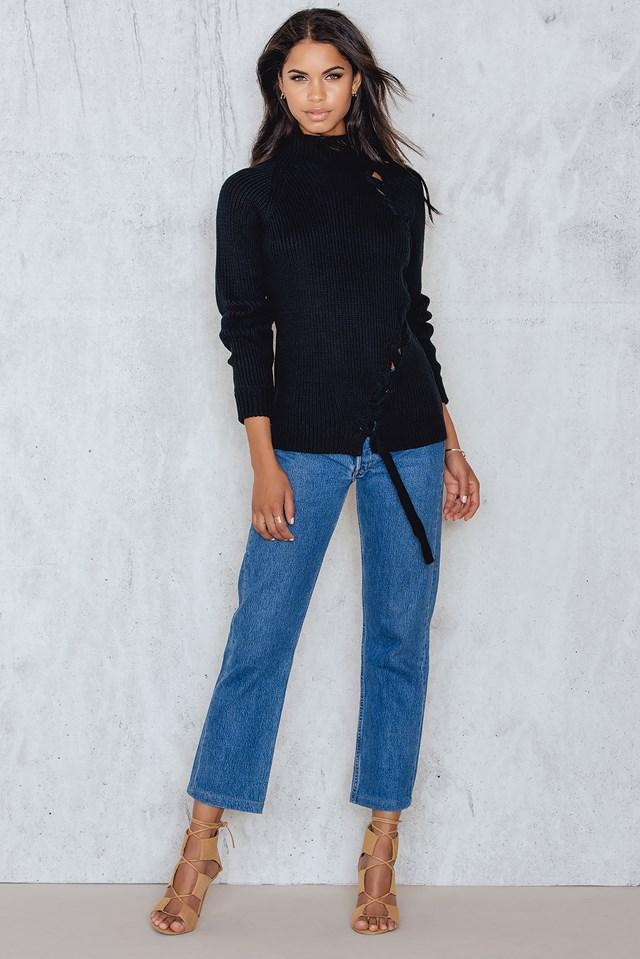 Lacing Side Seam Sweater Black