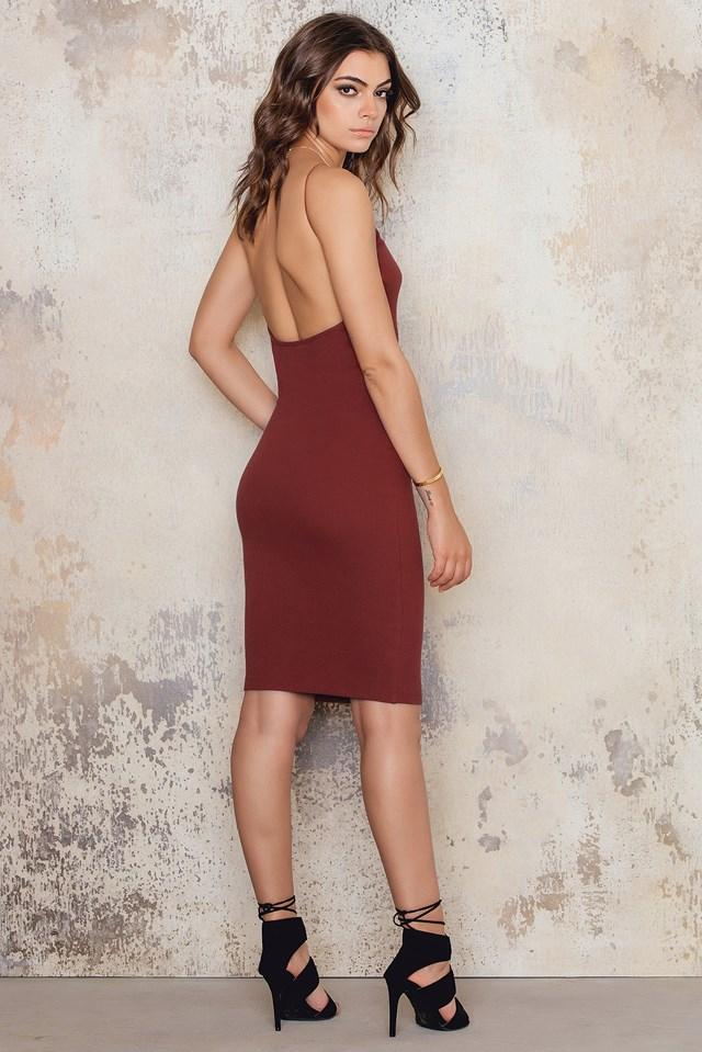 Rib High Neck Low Back Midi Dress Red