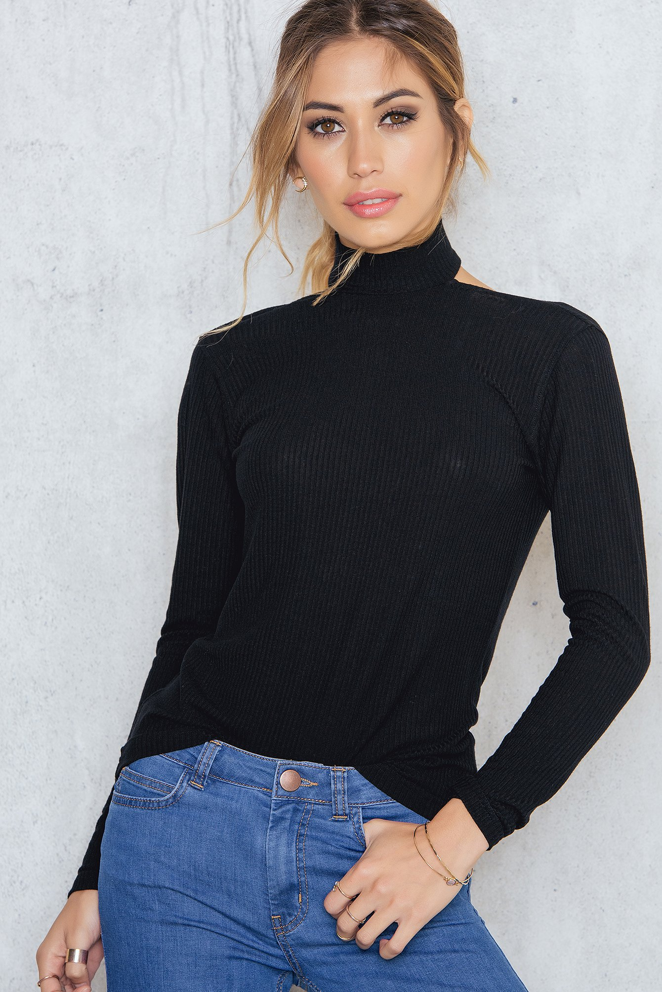 Black High Neck Low Back Ribbed Top