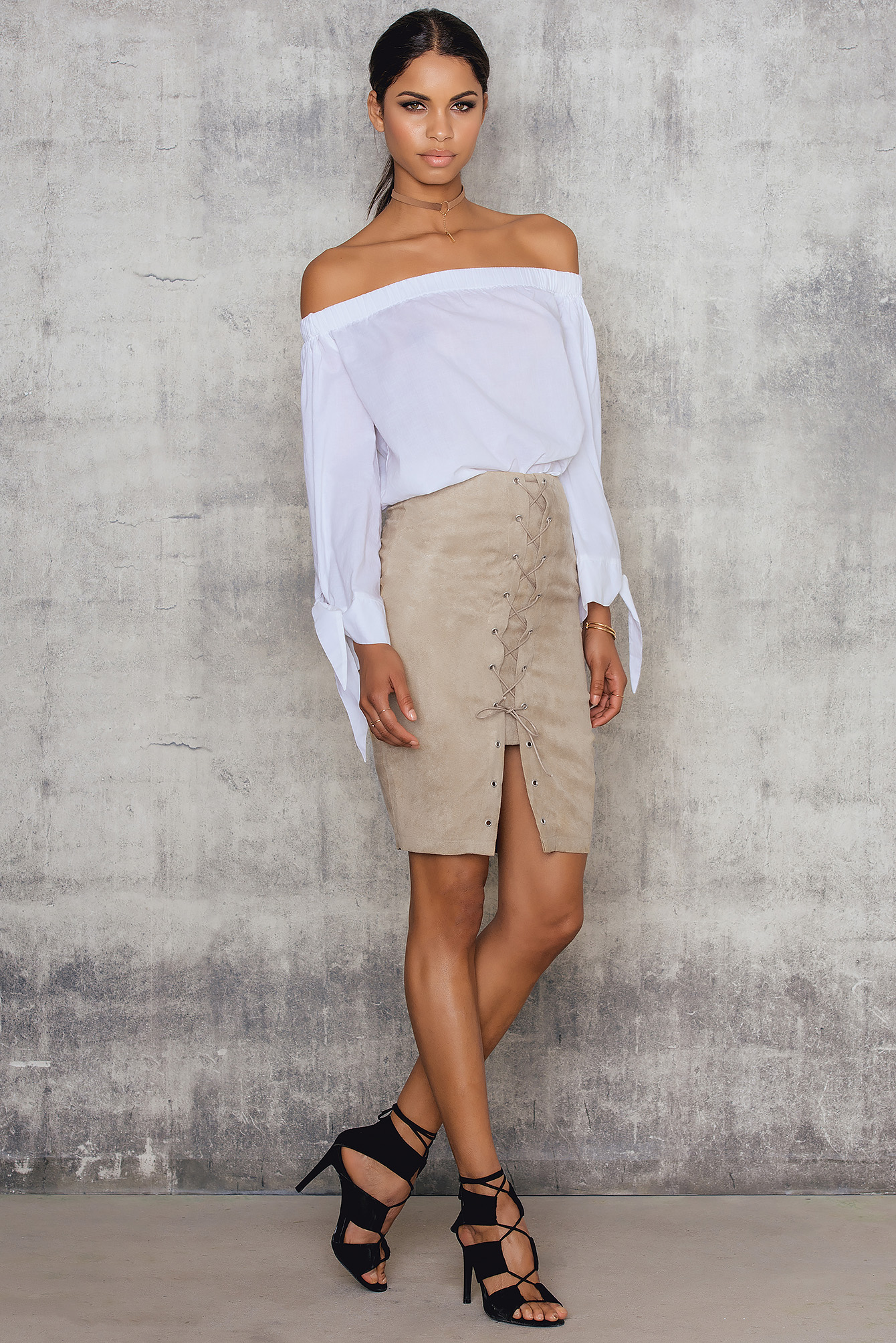 Beige Fauxe Suede Lacing Skirt