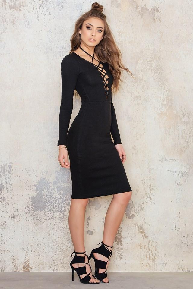 Rib Lacing Midi Dress Black