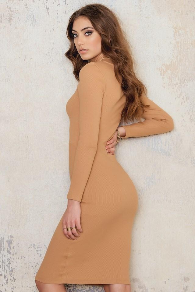 Rib Lacing Midi Dress Tan