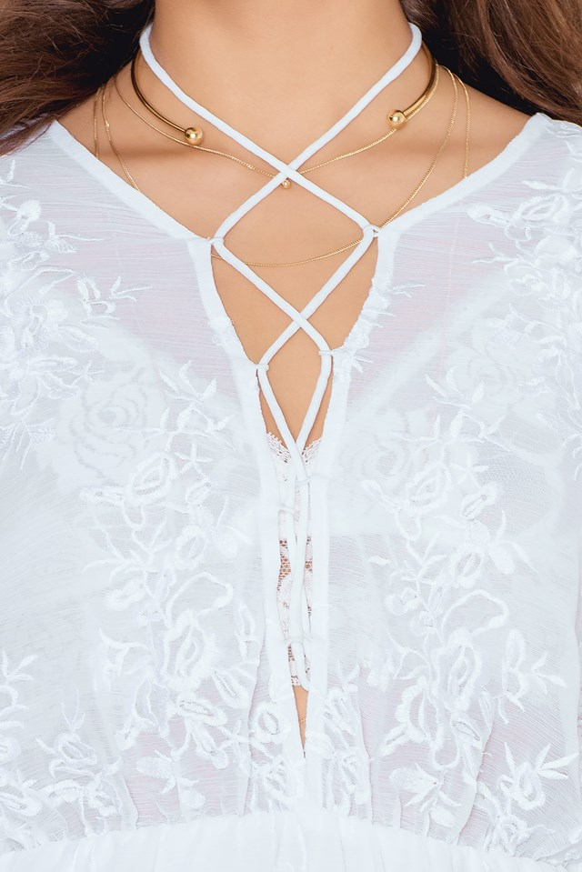 Lacing Embroidery Dress White
