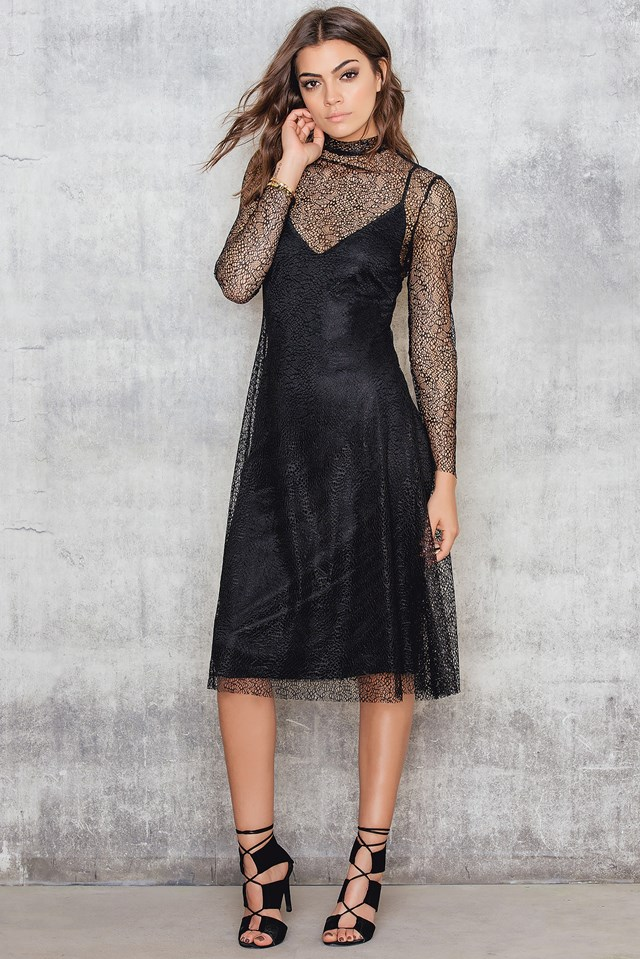 Lace A-Line Midi Dress Black