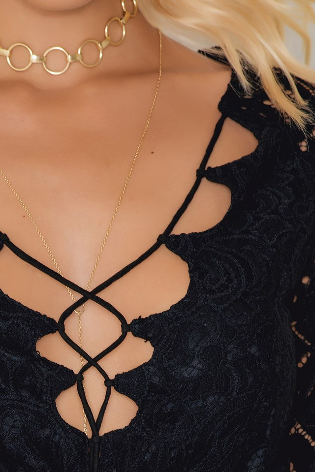 Lacing Lace Dress Black