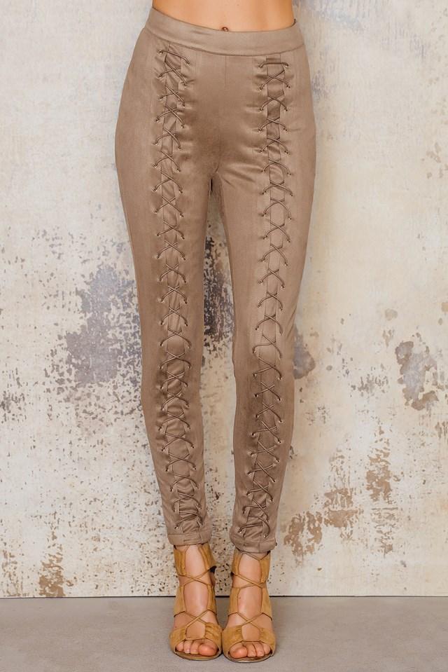 Suede Lacing Pants Camel