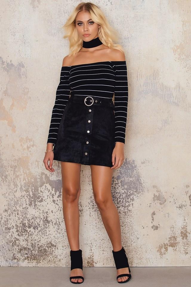 Zamszowa spódnica midi w kształcie litery A Black