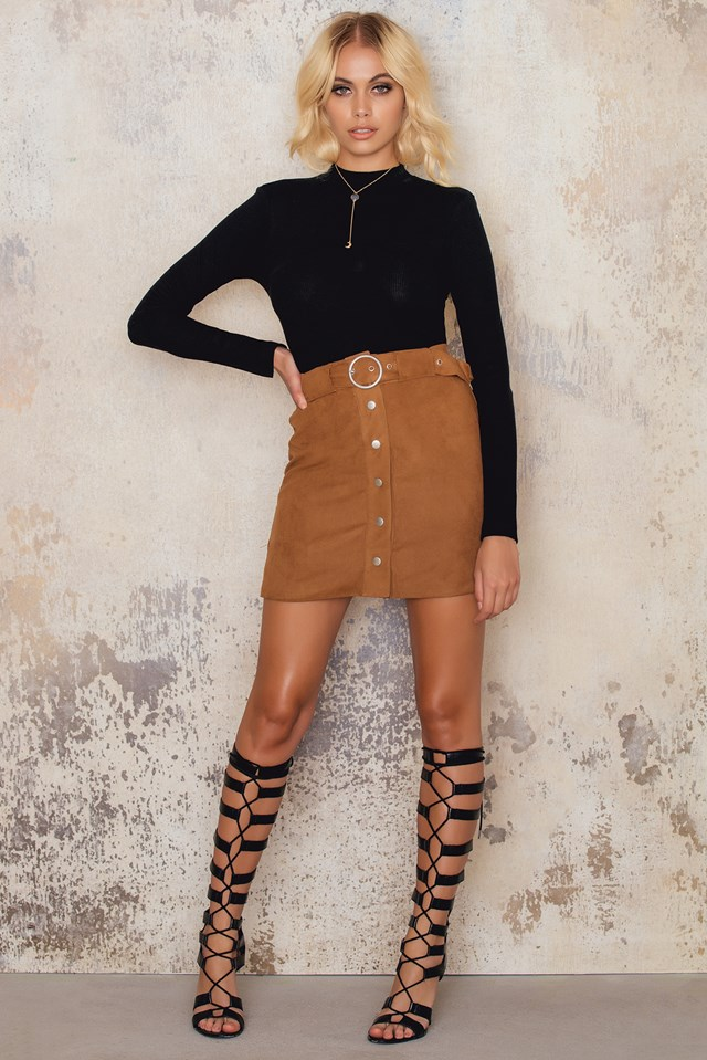 A-Line Suede Mini Skirt Camel