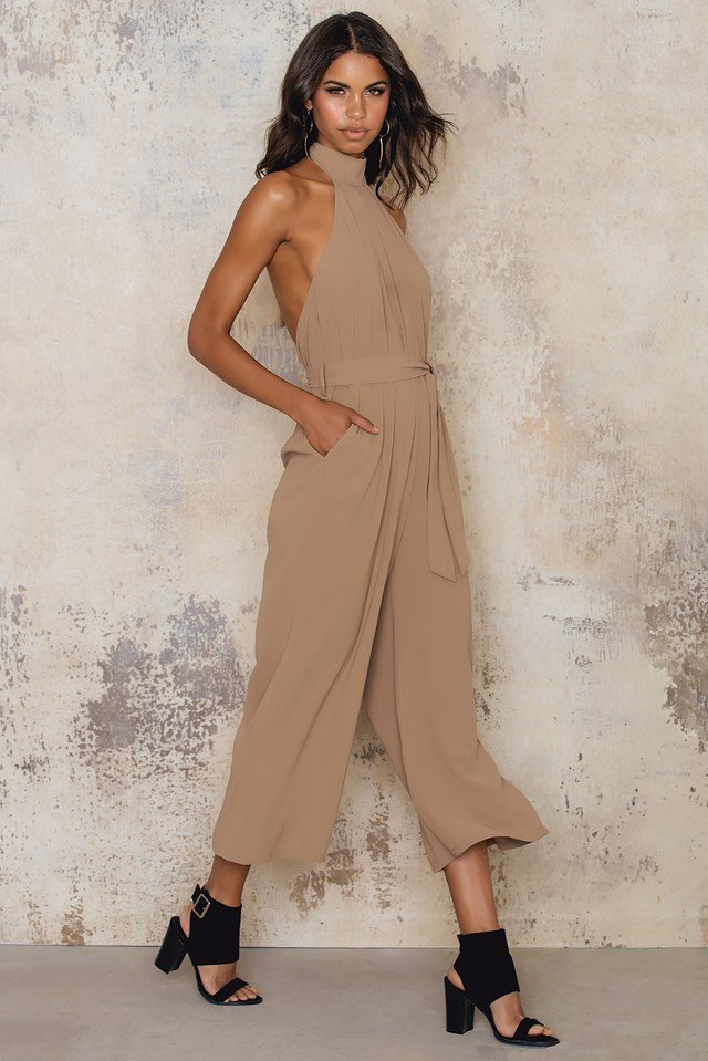 Culotte Tie Neck Jumpsuit Light Brown