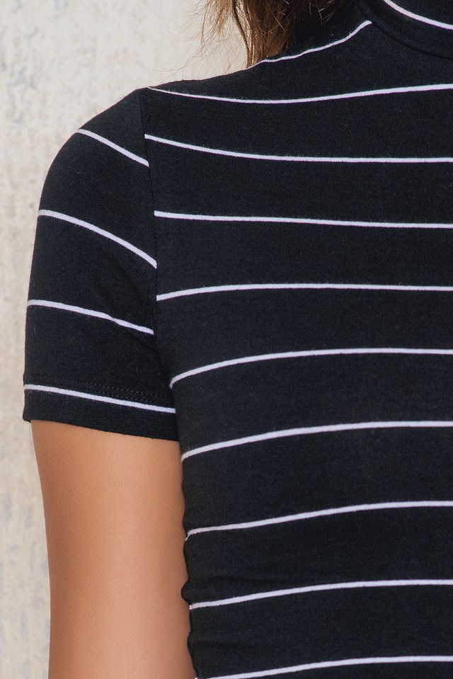Pinstriped High Neck Cropped Top Black/White Stripe