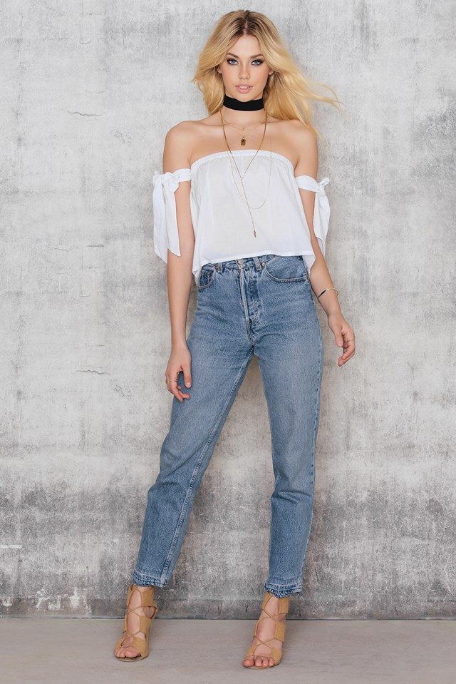 Off Shoulder Tied Sleeve Top White