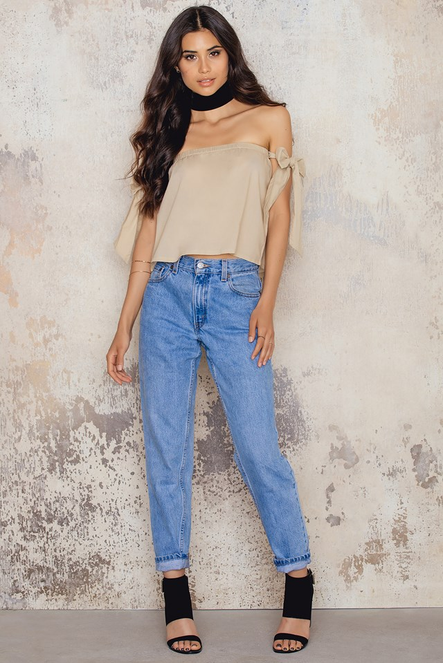 Off Shoulder Tied Sleeve Top Beige