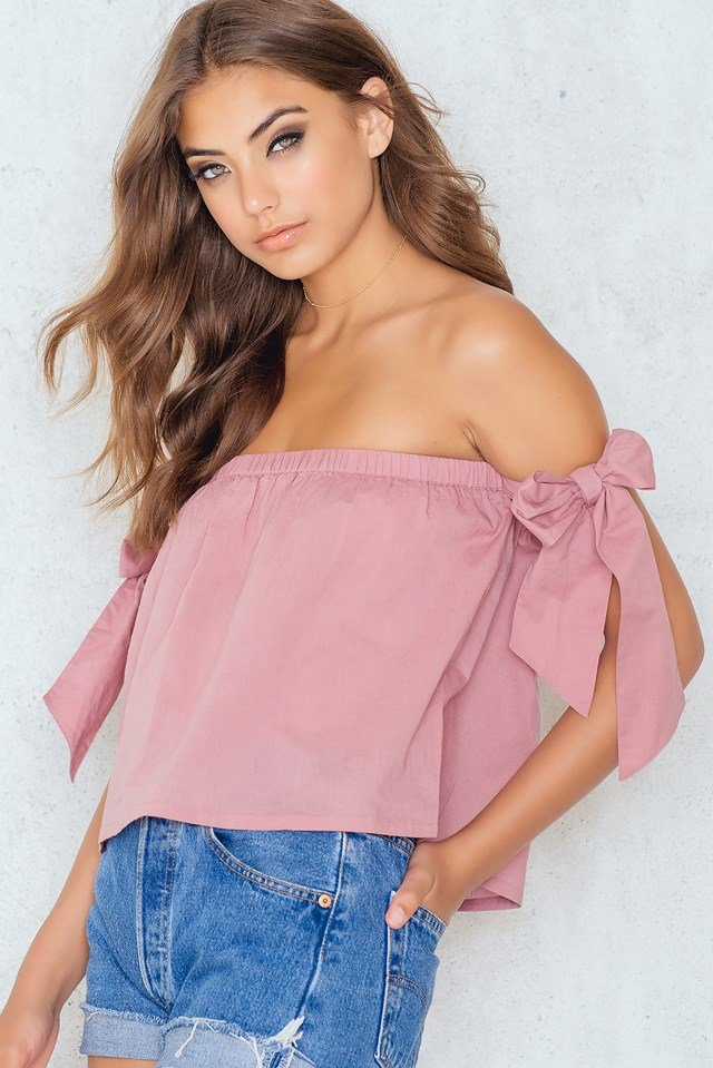 Off Shoulder Tied Sleeve Top NA-KD.COM