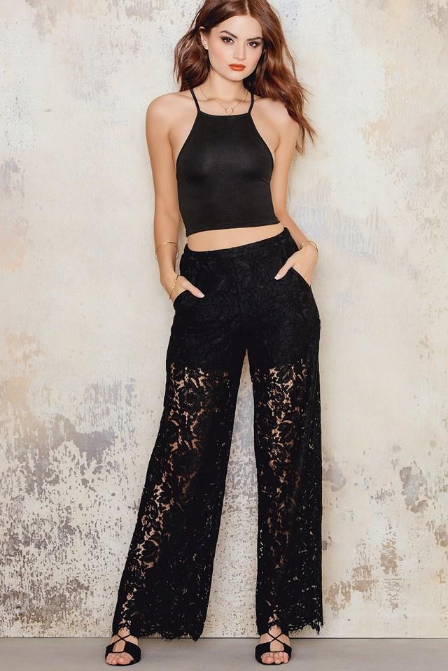 Lace Highwaist Pants Black