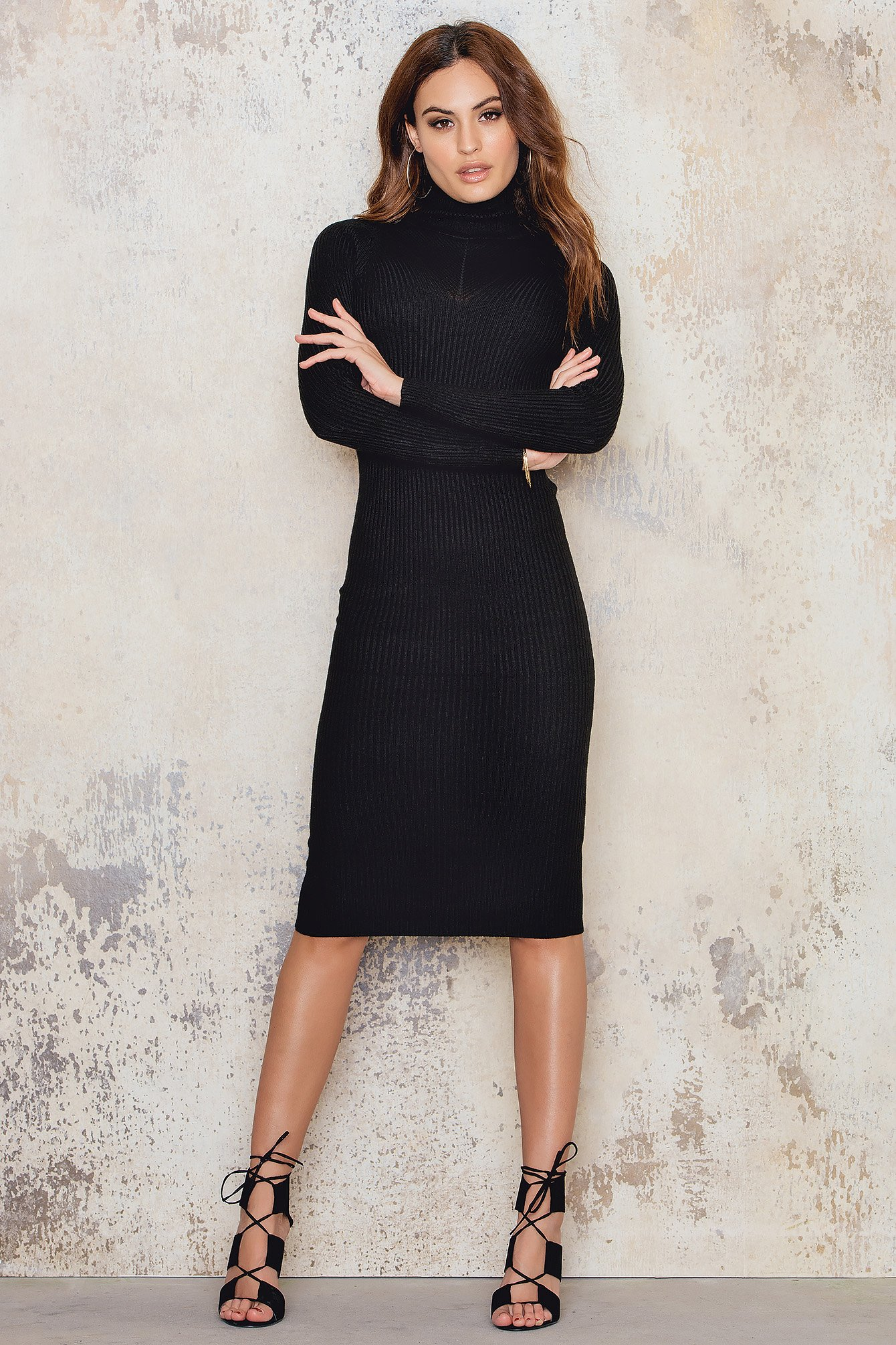 Black Roll Neck Rib L/SLV Dress