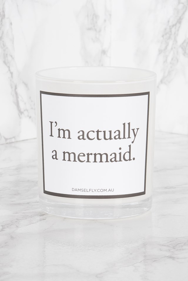 Large Quote Candle - I'm Actually A Mermaid White